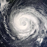 Satellite image of typhoon